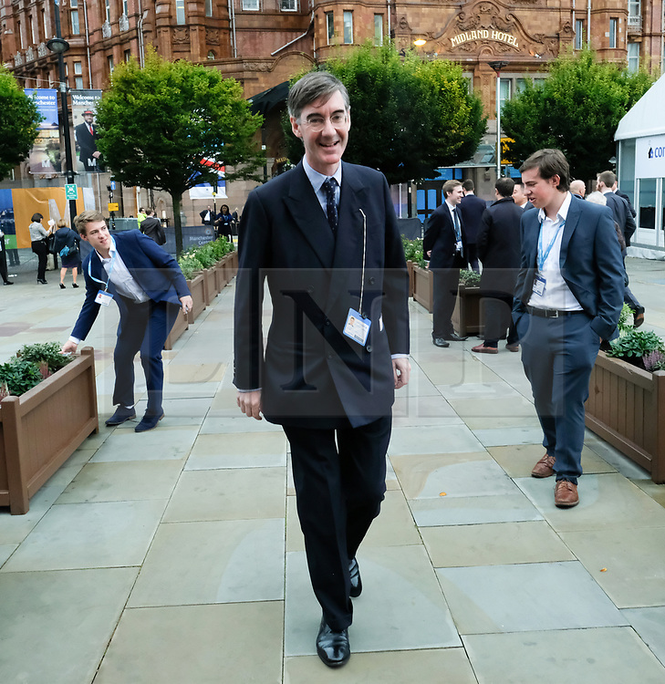 © Licensed to London News Pictures. <br /> 01/10/2017 <br /> Manchester, UK.  <br /> <br /> Jacob Rees-Mogg MP arrives to speak at an event at the Conservative party Conference held in the Manchester Central Convention Complex.<br /> <br /> The conference will offer a schedule of speeches, receptions and fringe events giving a chance for party members and the public to learn about party ideas and policies for the year ahead.<br /> <br /> Photo credit: Ian Forsyth/LNP