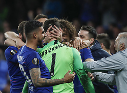 BRITAIN-LONDON-FOOTBALL-UEFA EUROPA LEAGUE-CHELSEA VS FRANKFURT.(190510) -- LONDON, May 10, 2019  Chelsea's Kepa Arrizabalaga (C) celebrates with teammates after winning the penalty shoot of the UEFA Europa League semi-final second leg match between Chelsea and Frankfurt in London, Britain on May 9, 2019.  FOR EDITORIAL USE ONLY. NOT FOR SALE FOR MARKETING OR ADVERTISING CAMPAIGNS. NO USE WITH UNAUTHORIZED AUDIO, VIDEO, DATA, FIXTURE LISTS, CLUBLEAGUE LOGOS OR ''LIVE'' SERVICES. ONLINE IN-MATCH USE LIMITED TO 45 IMAGES, NO VIDEO EMULATION. NO USE IN BETTING, GAMES OR SINGLE CLUBLEAGUEPLAYER PUBLICATIONS. (Credit Image: © Xinhua via ZUMA Wire)