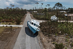 Scene of a boat left stranded in the middle of Chippinghill Dr. by an 8 feet of water surge during Hurricane Dorian in the Fortune Bay neighborhood of Grand Bahama, on Friday, September 06, 2019. Photo by Matias J. Ocner/Miami Herald/TNS/ABACAPRESS.COM