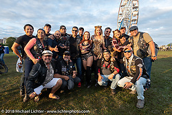 HOG members from Medellín, Columbia at the Harley-Davidson 115th anniversary celebration. Shown here at the HOG Moto-Carnival with the Purrfect Angelz in Veterans Park. Milwaukee, WI. USA. Wednesday August 29, 2018. Photography ©2018 Michael Lichter.