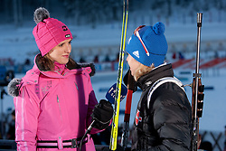 Winner Magdalena Neuner (R) interviewed by Marjeta Kosir of RTV Slovenijaduring the Women 7,5 km Sprint of the e.on IBU Biathlon World Cup on Saturday, December 18, 2010 in Pokljuka, Slovenia. The fourth e.on IBU World Cup stage is taking place in Rudno polje - Pokljuka, Slovenia until Sunday December 19, 2010. (Photo By Vid Ponikvar / Sportida.com)