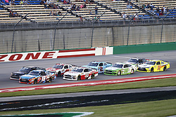 July 13, 2018 - Sparta, Kentucky, United States of America - Kyle Busch (18) leads the field to a restart during the Alsco 300 at Kentucky Speedway in Sparta, Kentucky. (Credit Image: © Chris Owens Asp Inc/ASP via ZUMA Wire)