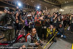 The motorcycle press from around the world descends every year on the Mooneyes Yokohama Hot Rod & Custom Show. Yokohama, Japan. December 6, 2015.  Photography ©2015 Michael Lichter.