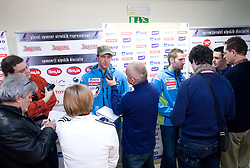 Andrej Jerman and Ales Gorza interviewed at press conference of Men Slovenian alpine team before the World Championship in Val d'Isere, France,  on January 26, 2009, in Ljubljana, Slovenia.  (Photo by Vid Ponikvar / Sportida)