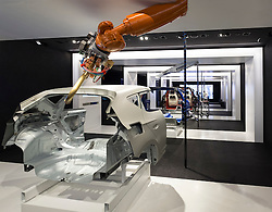 Display of modern car manufacture and assembly production line at VW Volkswagen Visitor Centre at Autostadt in Wolfsburg, Germany