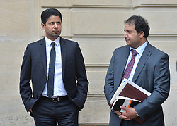Paris Saint-Germain Football Club CEO Nasser Al-Khelaifi pictured prior to a meeting with French President Francois Hollande and Qatari Prime Minister Sheikh Abdullah bin Nasser bin Khalifa Al Thani at the Elysee Palace in Paris, France on November 17, 2015. Photo by Christian Liewig/ABACAPRESS.COM
