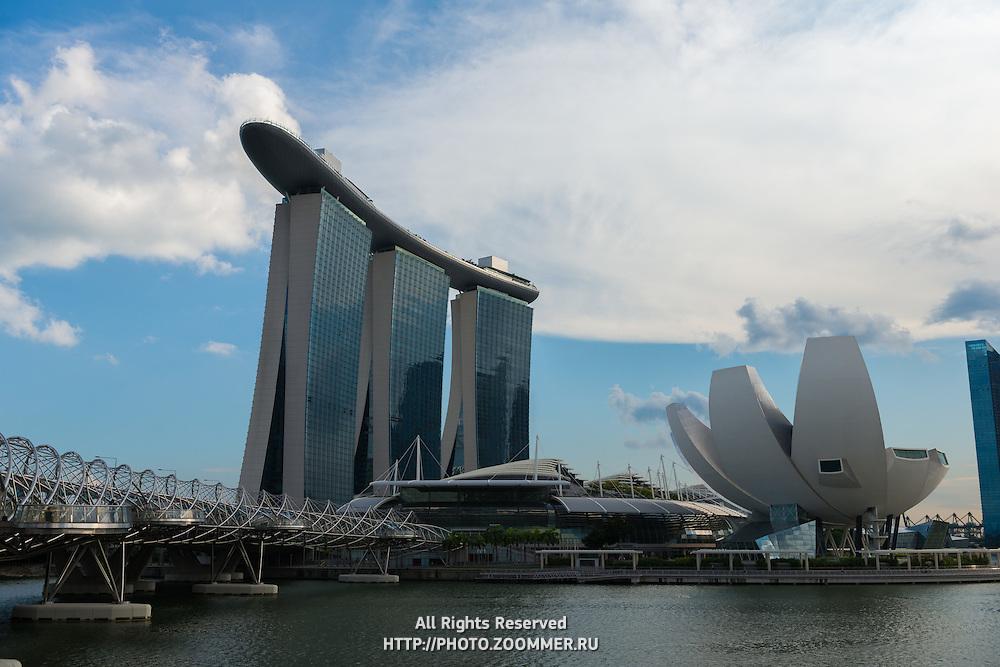 Marina Bay Sands Hotel and Helix bridge, Singapore
