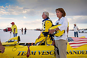 Image of team preparations at the Bonneville Salt Flats, Utah, American Southwest by Randy Wells