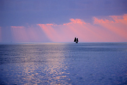 Sunset With Boat In The Everglades