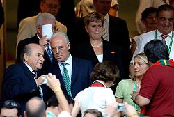 25-06-2006 VOETBAL: FIFA WORLD CUP: NEDERLAND - PORTUGAL: NURNBERG<br /> Oranje verliest in een beladen duel met 1-0 van Portugal en is uitgeschakeld / In Oberndorf gaf Beckenbauer (m) in een besloten plechtigheid zijn ja-woord aan de 39-jarige Heidi Burmester (r). Links Sepp Blatter<br /> ©2006-WWW.FOTOHOOGENDOORN.NL