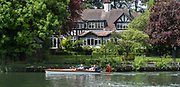 """Maidenhead. Berkshire. United Kingdom. General view. Spectators watch the racing from a """"slipper launch""""  racing at the 2017 Maidenhead Junior Regatta  River Thames. <br /> <br /> [©Peter SPURRIER/Intersport Images] Sunday. 14.05.2017"""