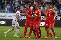 Fotball , 15. juni 2019 , Eliteserien,<br />Haugesund - Brann Bergen<br />Vito Wormgoor fra Brann Bergen celebrates skåring først mål mot Haugesund.<br />Foto: Andrew Halseid Budd , Digitalsport