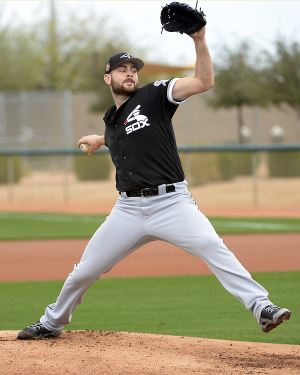 GLENDALE, ARIZONA - FEBRUARY 18:  Lucas Giolito #27 of the Chicago White Sox pitches during spring training workouts on February 18, 2017 at Camelback Ranch in Glendale Arizona.  (Photo by Ron Vesely)   Subject:  Lucas Giolito