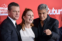 Matt Damon, Julianne Moore and George Clooney attend the Premiere of Paramount Pictures' 'Suburbicon' at Regency Village Theatre on October 22, 2017 in Los Angeles, California. Photo by Lionel Hahn/AbacaPress.com
