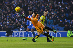 Chuba Akpom of Brighton & Hove Albion shot on goal goes just wide of the post - Mandatory by-line: Jason Brown/JMP - 11/02/2017 - FOOTBALL - Amex Stadium - Brighton, England - Brighton and Hove Albion v Burton Albion - Sky Bet Championship