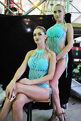 August 7, 2017 - Qingdao, Qingdao, China - Qingdao, CHINA-August 7 2017: (EDITORIAL USE ONLY. CHINA OUT) Russian girls work hard at International Beer Festival in Qingdao, east China's Shandong Province, August 7th, 2017. (Credit Image: © SIPA Asia via ZUMA Wire)