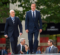 © Licensed to London News Pictures. 07/07/2015. London, UK. British Prime Minister DAVID CAMERON arriving. A church service held at St Paul's Cathedral In London on the 10th anniversary of the 7/7 bombings in London which killed 52 civilians and injured over 700 more.  Photo credit: Ben Cawthra/LNP