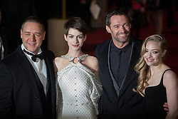 © licensed to London News Pictures. London, UK 05/12/2012. Russell Crowe, Anne Hathaway, Amanda Seyfried and Hugh Jackman attending World Premiere of Les Miserables in Leicester Square, London. Photo credit: Tolga Akmen/LNP