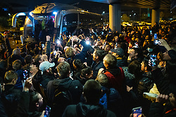 © Licensed to London News Pictures. 09/05/2021. Bolton, UK. EOIN DOYLE is swamped by fans . Bolton Wonderers supporters celebrate outside the University of Bolton stadium as their team coach returns home following BWFC winning promotion to League One after the team's 1-4 victory over Crawley Town . Photo credit: Joel Goodman/LNP