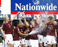 Photo: Chris Ratcliffe.<br /> Leeds United v Arsenal. Womens' FA Cup Final. 01/05/2006.<br /> Arsenal Ladies celebrate the easy win with champagne and the cup.