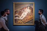 LUCIAN FREUD (1922-2011)<br /> Naked Portrait on a Red Sofa<br /> Painted in 1989-1991<br /> Estimate: $20,000,000-30,000,000 - Christie's showcases  the London Post-War and Contemporary Art Evening Sale in October, alongside an exceptional selection of works from the  New York sales in November of Impressionist, Modern, Post-War And  Contemporary Art. The works will be on view to the public from Saturday 10 October to Saturday 17 October at Christie's King Street. The highlight is  Amedeo Modigliani's, 'Nu couché (Reclining  Nude)', painted in 1917-18, which has an estimate in the region of $100 million.