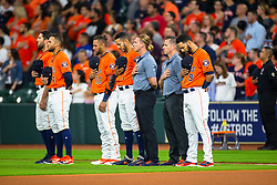 April 13, 2018 - Houston, TX, U.S. - HOUSTON, TX - APRIL 13: Houston Astros athletes during the National Anthem prior to an MLB game between the Houston Astros and the Texas Rangers and April 13, 2018 at Minute Maid Park in Houston, TX.  (Photo by Juan DeLeon/Icon Sportswire) (Credit Image: © Juan Deleon/Icon SMI via ZUMA Press)
