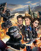 Caricature: Andy Serkis plays Caesar, leading the apes after a disruption of peace. Jason Clarke, Gary Oldman, Keri Russell star in this epic conflict. Photoshop. Originally created for Penthouse Movie Review.