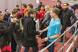 Galen Rupp greet fans after he sets American record in 2-Mile at BU Terrier and then does solo interval workout