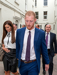 © Licensed to London News Pictures. 14/08/2018. Bristol, UK. BEN STOKES and his wife CLARE RATCLIFFE leave Bristol Crown court today after he is acquitted by a jury on charges of affray that relate to a fight outside a Bristol nightclub on September 25 2017. England cricketer Ben Stokes and Ryan Ali, 28,  who was also acquitted denied the charge. Stokes and Ali were charged with affray in the Clifton Triangle area of Bristol on September 25 last year, several hours after England had played a one-day international against the West Indies in the city. Ali allegedly suffered a fractured eye socket in the incident. Photo credit: Simon Chapman/LNP