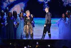 Pink with Dan Smith from Bastille on stage at the Brit Awards 2019 at the O2 Arena, London. Photo credit should read: Matt Crossick/EMPICS Entertainment. EDITORIAL USE ONLY