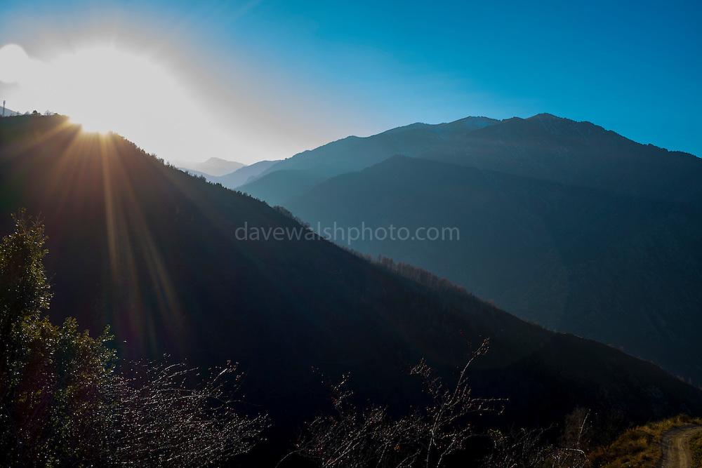 View from Tour de Goa, medievak signal tower in the Pyrenees mountain range near the Canigou.