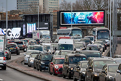 © Licensed to London News Pictures. 20/12/2019. Bumper to bumper traffic on the A4 Talgarth road which suffered flooding due to heavy rain this morning as the Christmas Getaway starts in London. Heavy rain has caused chaos for thousands of travellers who are expected to travel over the festive period: Alex Lentati/LNP