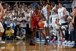 CHAPEL HILL, NC - JANUARY 27: Lavar Batts Jr. #3 of the North Carolina State Wolfpack dribbles the ball against the North Carolina Tar Heels on January 27, 2018 at the Dean Smith Center in Chapel Hill, North Carolina. North Carolina lost 95-91. (Photo by Peyton Williams/UNC/Getty Images) *** Local Caption *** Lavar Batts Jr.