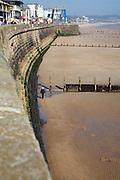 Sea wall, groynes and sandy beach Bridlington, Yorkshire, England
