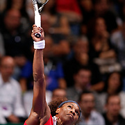 Serena Williams of the U.S. hits a return to Russia's Maria Sharapova during their final WTA tennis championships match in Istanbul, October 28, 2012. Photo by TURKPIX