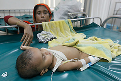 May 24, 2017 - Dhaka, Bangladesh - Patients of diarrhea cases increasing in recent times due to the rising temperatures and shortage of pure drinking water. A makeshift camp of the International Centre for Diarrhea Diseases Research is set up to treat children, in Dhaka, Bangladeh, on May 24, 2017. (Credit Image: © Mehedi Hasan/NurPhoto via ZUMA Press)
