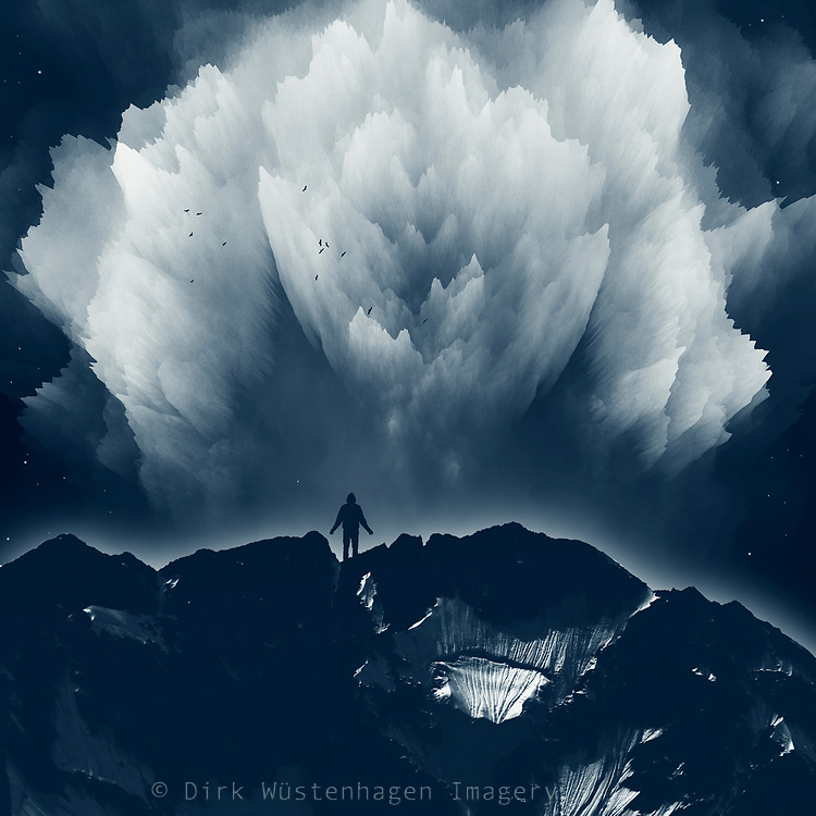 Man standing on a mountain range with an exploding cloudy sky above - composite image<br /> Redbubble stuff --> https://rdbl.co/2TF2Lvt