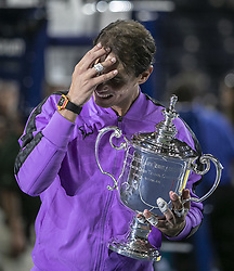 September 8, 2019, Flushing Meadows, New York, United States of America: Rafael Nadal gets emotional as he holds his trophy for the Men Singles Finals match win against Daniil Medvedev on Day 14 of the 2019 US Open at USTA Billie Jean King National Tennis Center on Sunday September 8, 2019 in the Flushing neighborhood of the Queens borough of New York City. Nadal defeats Medvedev, 7-5, 6-3, 5-7, 4-6, 6-4. JAVIER ROJAS/PI (Credit Image: © Prensa Internacional via ZUMA Wire)