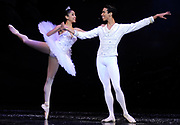 """Snow Queen Nayara Lopes and the Snow Cavelier Francis Lawrence both of the Dance Theatre of Harlem perform in the dress rehearsal of Ballet Arts Worcester's production of """"The Nutcracker"""" at the Hanover Theatre for the Performing Arts on Friday, Nov. 28, 2014."""