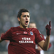 Trabzonspor's Ceyhun GULSELAM celebrate his goal during their Turkish Superleague Derby match Besiktas between Trabzonspor at the Inonu Stadium at Dolmabahce in Istanbul Turkey on Sunday, 06 March 2011. Photo by TURKPIX