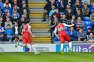 Fleetwood Town Forward, Devante Cole (44) scores a goal to make it 1-1 during the EFL Sky Bet League 1 match between Portsmouth and Fleetwood Town at Fratton Park, Portsmouth, England on 16 September 2017. Photo by Adam Rivers.