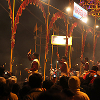 Asia, India, Varanasi. Evening rituals at Varanasi.
