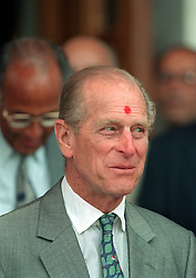 File photo dated 23/7/96 of The Duke of Edinburgh during his visit to The Swaminarayan Hindu Temple in Neasden in London. The Duke of Edinburgh has died, Buckingham Palace has announced. Issue date: Friday April 9, 2020.. See PA story DEATH Philip. Photo credit should read: Fiona Hanson/PA Wire