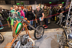 Masters Garage's 1989 custom Harley-Davidson 1200 Sportster in the custom show at EICMA, the largest international motorcycle exhibition in the world. Milan, Italy. November 21, 2015.  Photography ©2015 Michael Lichter.