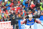 Johannes Thingnes Boe (NOR) wears golden glasses during the Men 15 Km Mass Start at the IBU Biathlon World Championships, Sunday, Feb. 23, 2020, in Antholtz-Anterselva, Italy. (Pierre Teyessot-ESPA-Images/Image of Sport)