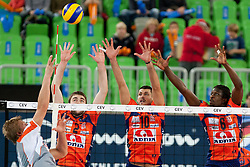 Uros Kovacevic #2, Borislav Petrovic #10 and Mory Sidibie #6 of ACH Volley during volleyball match between ACH Volley (SLO) and Euphony Asse-Lennik (BEL) in 3rd Leg of Pool D of 2013 CEV Champions League on November 14, 2012 in Arena Stozice, Ljubljana, Slovenia. (Photo By Urban Urbanc / Sportida)