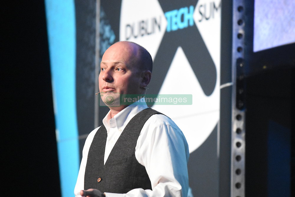 April 18, 2018 - Dublin, Ireland - Jordan P. Evans Deputy Director, Engineering and Science at NASA speaks to e crowd about 1,000 kg Curiosity Rover on the surface of Mars & flying the Cassini Spacecraft through the Saturnian system at Dublin tech summit 2018. (Credit Image: © John Rooney/Pacific Press via ZUMA Wire)