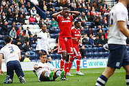 Sammy Ameobi of Cardiff City reacts to missing a chance. Skybet football league championship match, Preston North End v Cardiff City at the Deepdale stadium in Preston, Lancashire on Saturday 17th October 2105.<br /> pic by Chris Stading, Andrew Orchard sports photography.