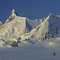 ANTARCTICA, Ski mountaineer Tom Day (MR), on Calley Glacier, Danco Coast, Antarctic Peninsula, during Warren Miller ski movie shoot.