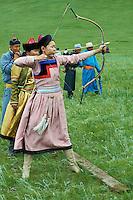Mongolie, Province du Khentii, Badshireet, fetes du Naadam, population Bouriate, tournoi de tir a l arc // Mongolia, Khentii province, Badshireet, Naadam festival, Buriat population, archery tournament